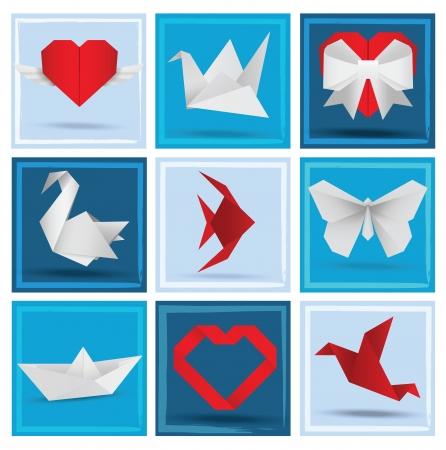 corazones de amor: Animales de Origami aman s�mbolos Vectores