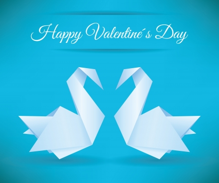 Swans origami  happy Valentines Day  Vector