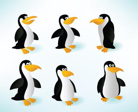 Six penguins Stock Vector - 22973410