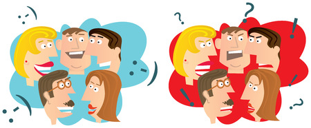 Happy and angry people Illustration