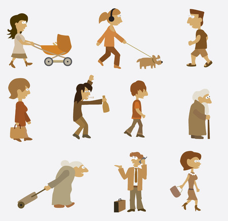 People set  retro colors  Vector