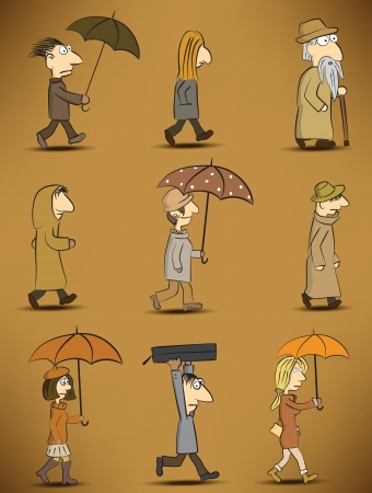 People - rainy day  retro colors  Vector