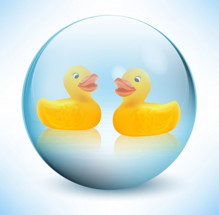Rubber ducks in the glass sphere Vector