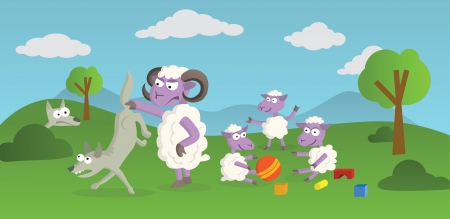 Funny Story of playing sheep and hunting wolves in the nature Vector