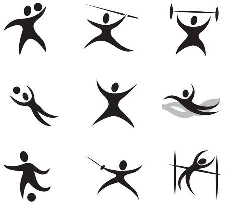fencing sword: Summer and winter games icon set 1 - black Illustration