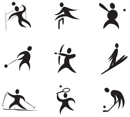 Summer and winter games icon set number 3  black  Vector