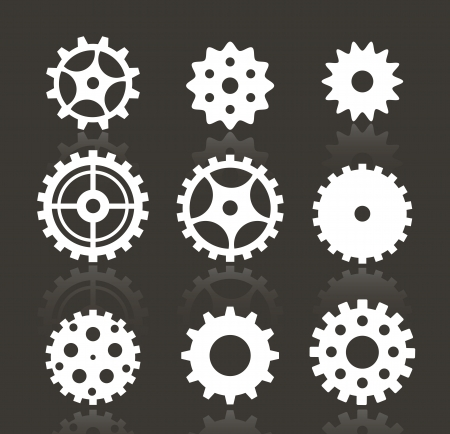 cog gear: Tooth wheels  white