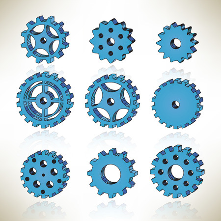 3D tooth wheels Vector