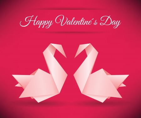 Swans origami  Happy Valentine�s Day  Vector