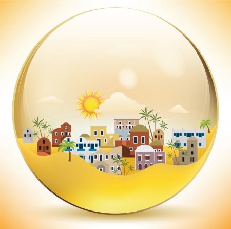 Oriental city in a glass sphere