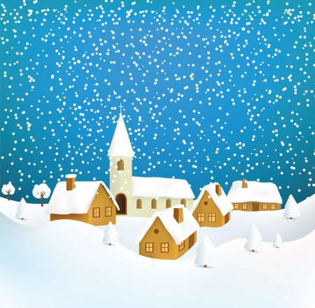 Village in the winter Vector