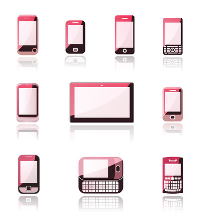 a pink cell: Mobile phone and tablet icons