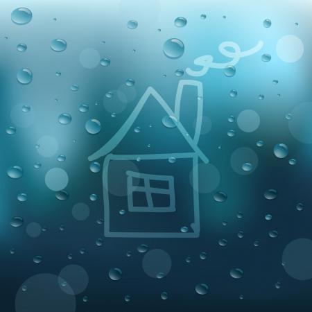 rain window: Water drops