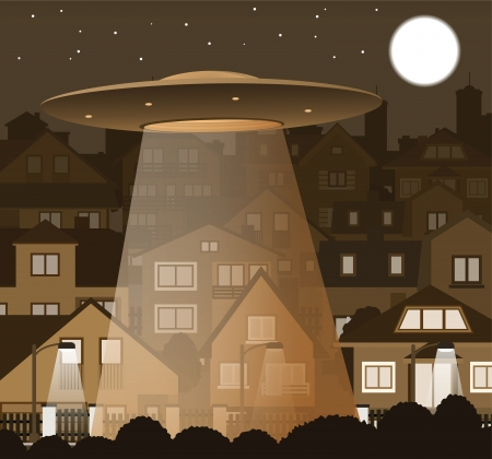 UFO flying over the night city Stock Vector - 23283498