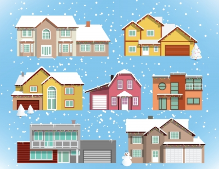 snow covered: Snow covered city houses  Christmas  Illustration