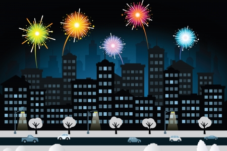 night scenery: Night city and fireworks  New Year celebration  Illustration