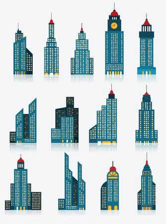 超高層ビル アイコン青