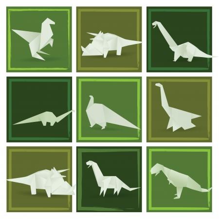 Origami dinosaurs  green   Vector