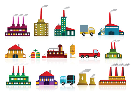 car factory: Factory icons Illustration