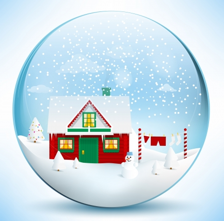Santa�s house in the glass sphere Vector