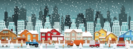 City in winter  Christmas  Vector