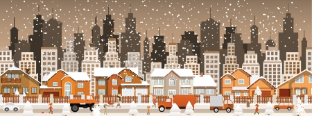City in winter  Christmas scenery  Vector