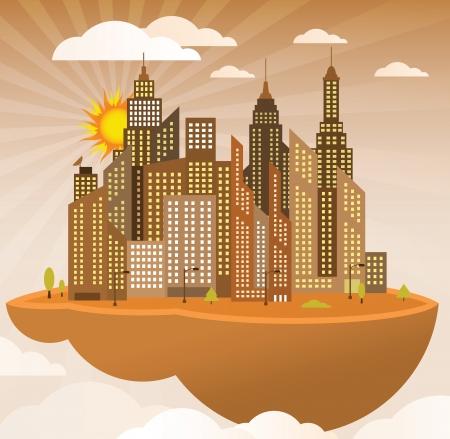 Flying isla ciudad moderna