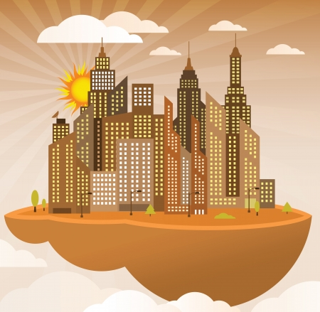 Flying island  modern city  Vector