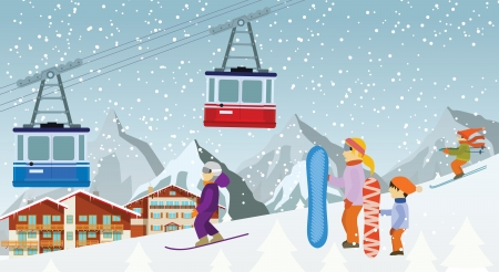 skiers: Skiing and snowboarding in the mountains