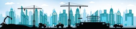 Het maken van het nieuwe gebouw in de stad Stock Illustratie