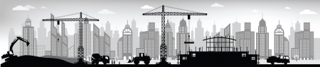 heavy construction: Making the new building in the city Illustration