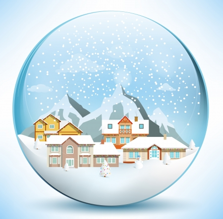 paperweight: Christmas sphere with houses