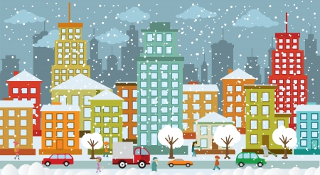 City in winter days