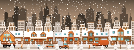 modern house exterior: City in winter  Christmas