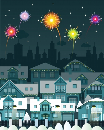 Night city and fireworks Vector
