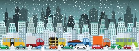 suburban street: Traffic jam in the city  Winter