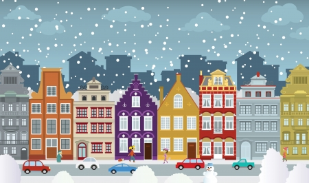 La vieille ville en hiver Banque d'images - 24814172