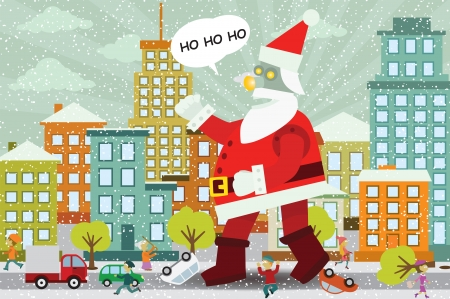 Santa Claus is attacking the city Stock Vector - 24796855