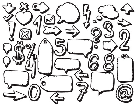 Hand drawing various symbols Vector