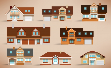 City houses  retro colors  Stock Vector - 24796858