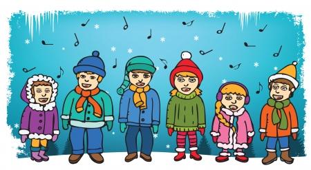 carolers: Children singing carols