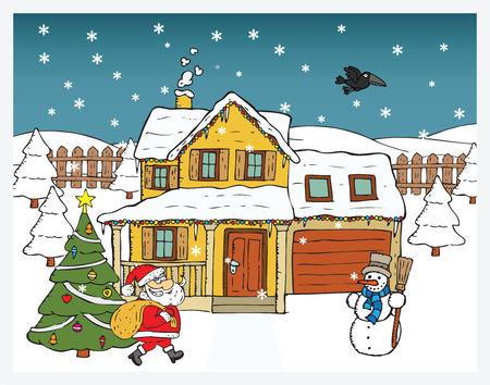 brings: Christmas card - Santa Claus brings gifts Illustration