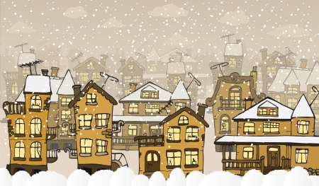 City in the winter days Vector