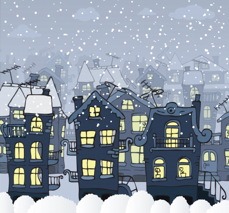 City in the night  Winter  Vector