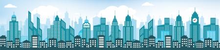青い都市景観  イラスト・ベクター素材