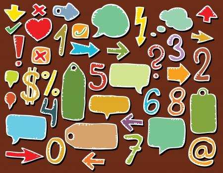colorful sticker: Hand drawn various symbols