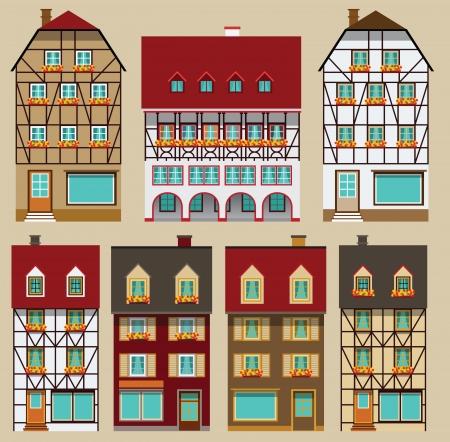 ヨーロッパの都市住宅  イラスト・ベクター素材