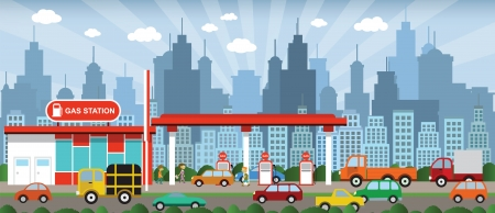 cars on road: Gas pump in the city