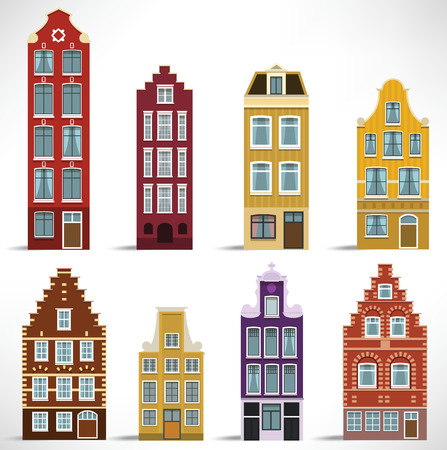 house facades: 8 Holland Houses Illustration