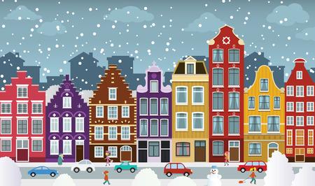 冬のオランダの町  イラスト・ベクター素材